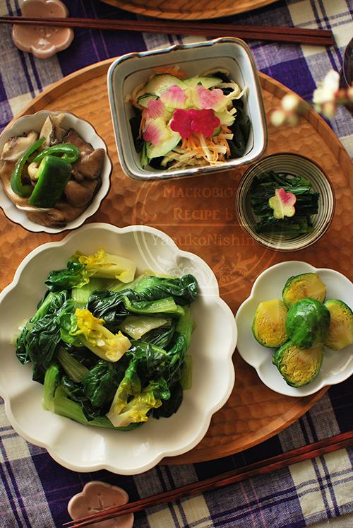 ターサイ、芽キャベツなどの減塩野菜料理